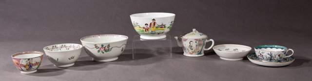 Group of Eight Pieces of Chinese Export Porcelain 19th