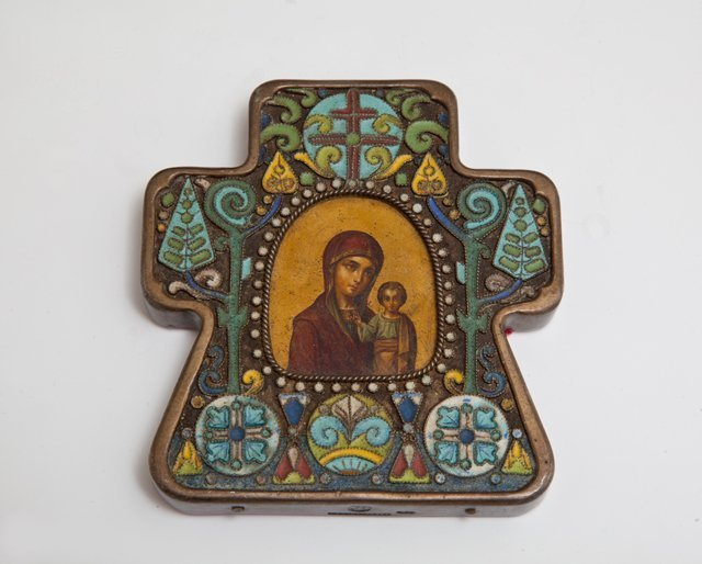 Small Russian Silver Enamel Icon of the Panagia Virgin