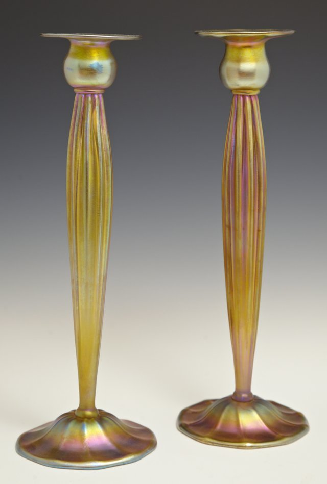 Pair of Tiffany Studios Gold Favrile Candlesticks, 20th