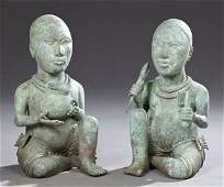 Pair of African Patinated Bronze Figures 20th c of a