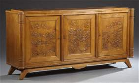 French Art Nouveau Carved Oak Sideboard, c. 1900, the