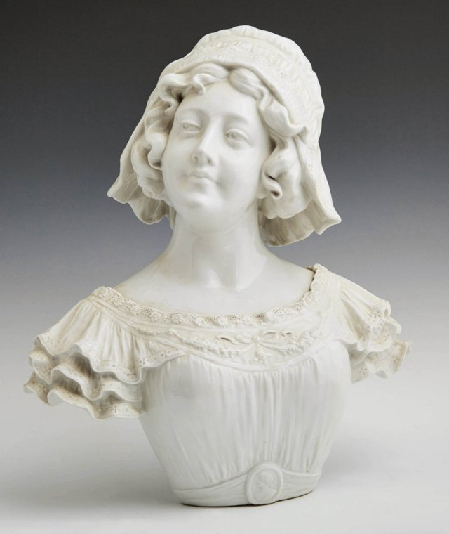 Continental White Porcelain Bust of a Woman, early 20th