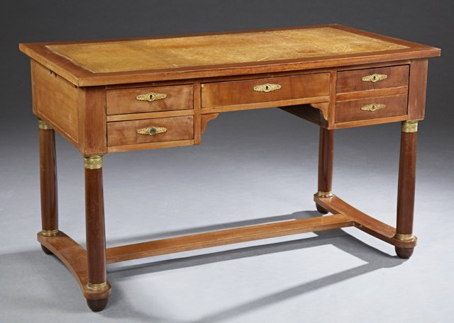 French Empire Style Carved Mahogany Leather Top Bureau