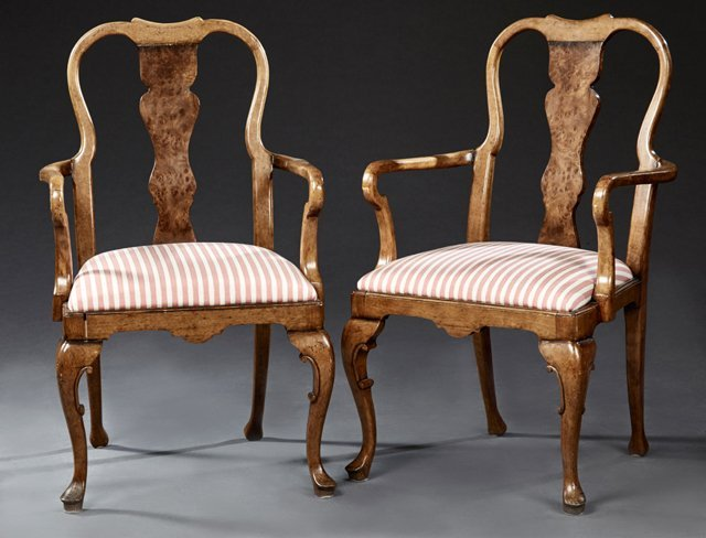 Pair of English George II Style Burled Walnut and