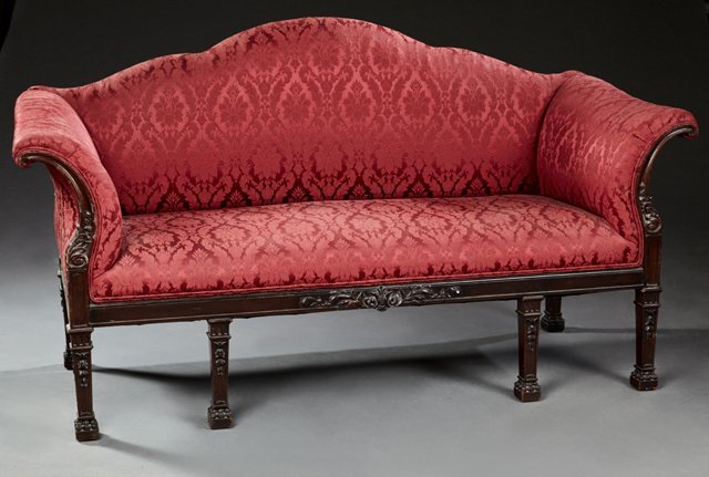 English Chippendale Style Carved Mahogany Settee, c.