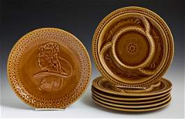 French Nine Piece Majolica Oyster Set, 20th c., by St.