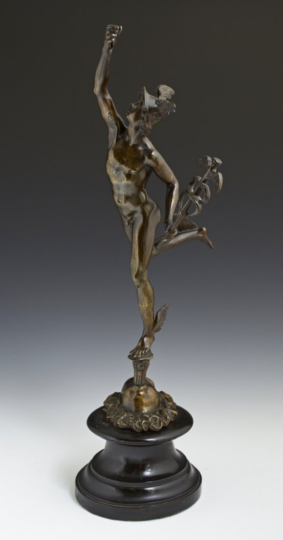 Patinated Bronze Figure of Mercury, late 19th c., on a