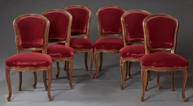 Set of Six French Louis XV Style Carved Walnut Dining