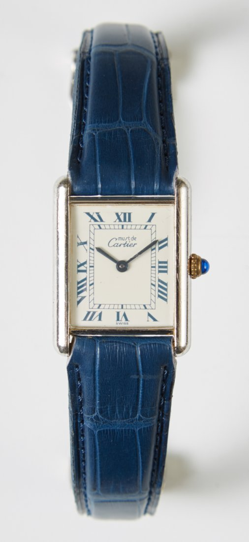 Sterling Cartier Quartz Tank Watch, Ser # 69006, 14285,