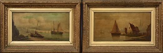 """French School, """"Harbor Scene,"""" and """"Fishing Boats,"""""""