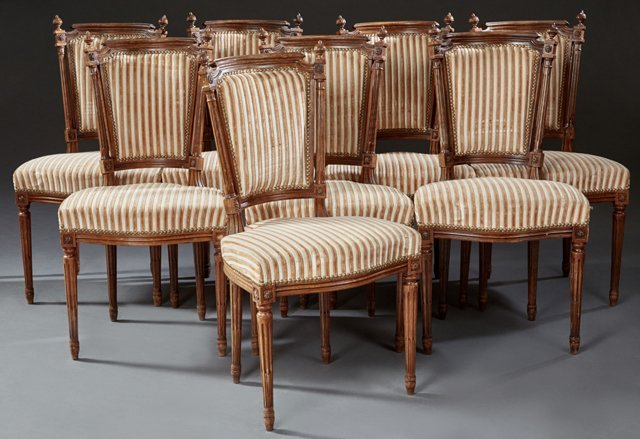 Set of Eight French Louis XVI Style Carved Beech Dining
