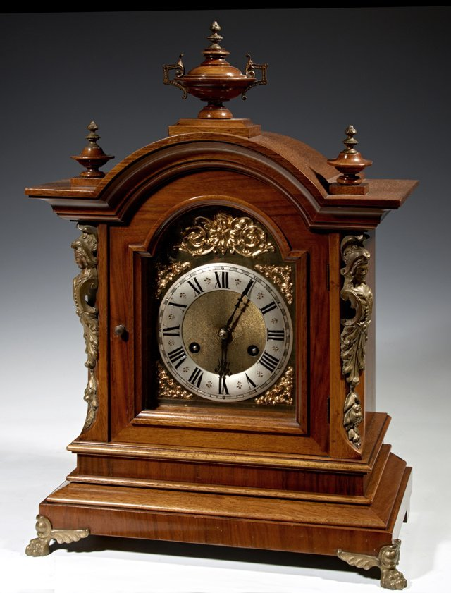 English Carved Mahogany Bronze Mounted Bracket Clock,