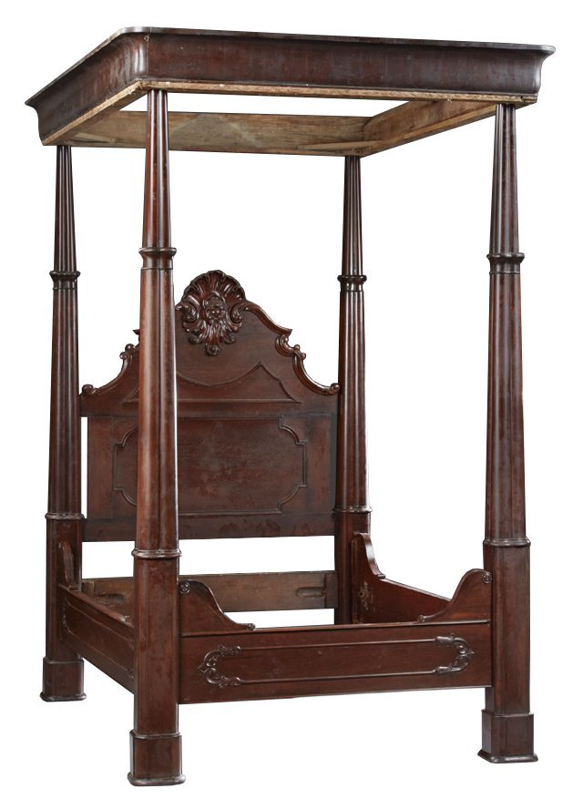 American Rococo Rosewood Full Tester Bed, mid 19th c.,