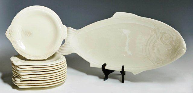 Thirteen Piece French Ceramic Fish Set, 20th c., by