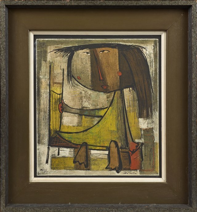 "Angel Botello (1913-1996, Puerto Rican), ""Standing"