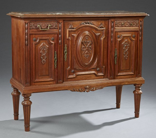 French Louis XVI Style Carved Walnut Marble Top Server,