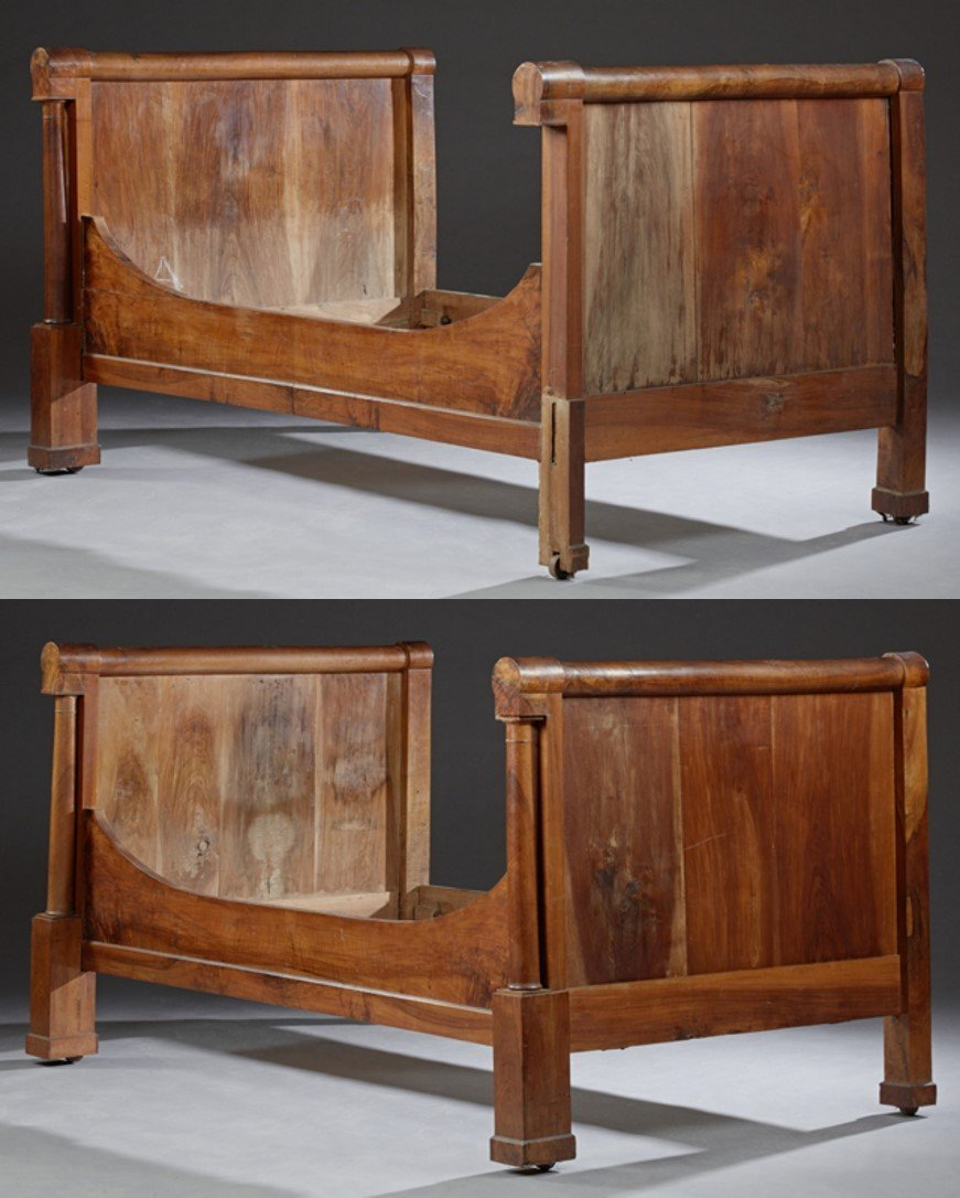 Pair of Louis Philippe Carved Walnut Sleigh Beds, c.