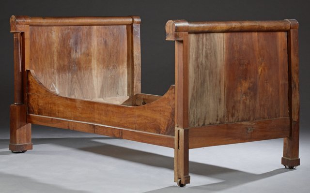 Pair of Louis Philippe Carved Walnut Sleigh Beds, c. - 2