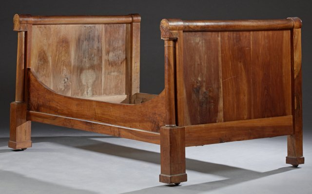 Pair of Louis Philippe Carved Walnut Sleigh Beds, c. - 3