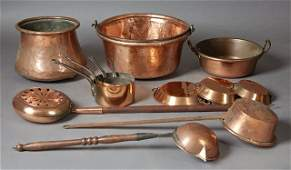 Group of Thirteen French Provincial Copper Pieces 19th