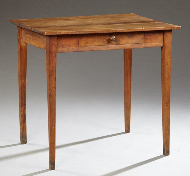 French Provincial Carved Poplar Writing Table, 19th c.,