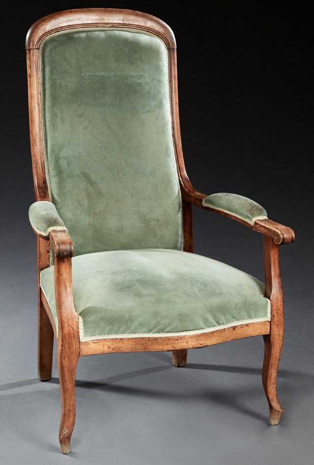 French Louis Philippe Carved Beech Voltaire Arm Chair,