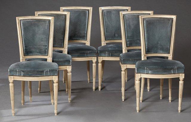 Set of Six Polychromed Beech Louis XVI Style Dining