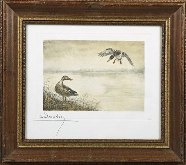 "Leon Danchin (1887-1939, French), ""Mallard Coming In,"""