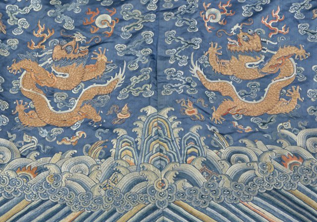 Chinese Embroidered Blue Silk Robe, early 20th c., with - 5