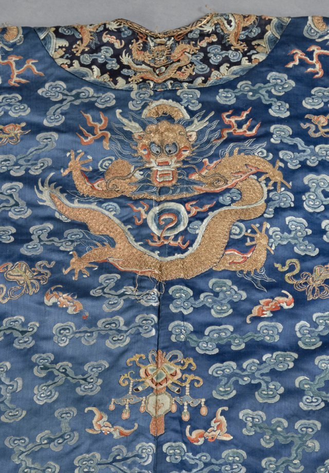Chinese Embroidered Blue Silk Robe, early 20th c., with - 6