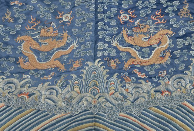 Chinese Embroidered Blue Silk Robe, early 20th c., with - 7
