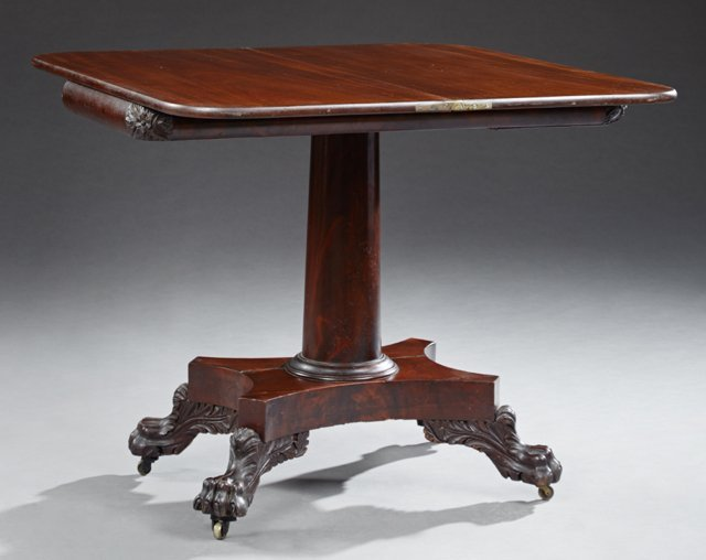 American Classical Style Carved Mahogany Games Table, - 2