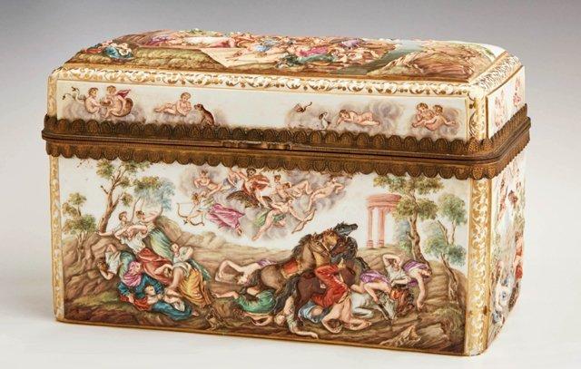 "Meissen Porcelain ""Capodimonte Style"" Dresser Box, 19th"