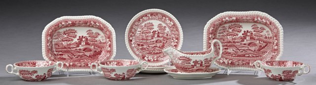 Group of Fifteen Pieces of Copeland's Red and White