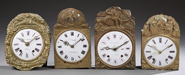 Group of Four French Morbier Clock Movements, 19th c.,