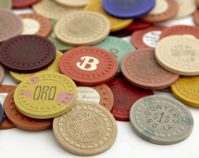 Group of Fifty-Six Vintage New Orleans Poker Chips, - 2