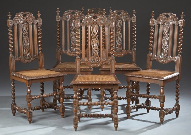 Set of Six French Henri II Style Carved Oak Dining