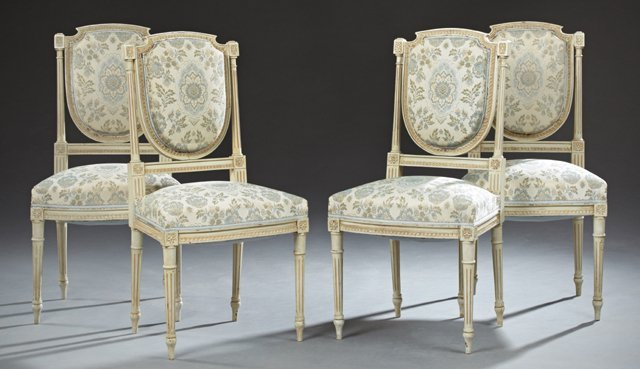Set of Four French Louis XVI Style Polychromed Salon
