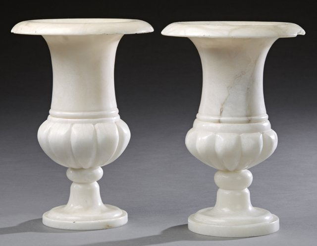 Pair of French Carved Alabaster Campana Form Urn Lamps,