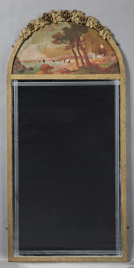 Unusual Wrought Iron Trumeau Mirror, early 20th c., the