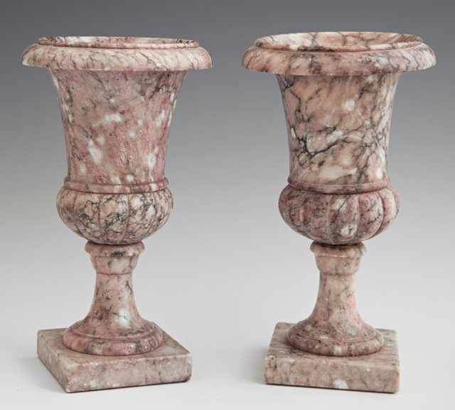 Diminutive Pair of Violet Marble Campana Urns, 20th c.,