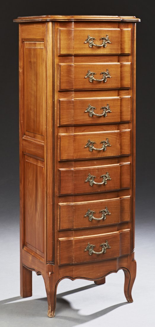 French Louis XV Style Carved Cherry Bowfront Semainier,