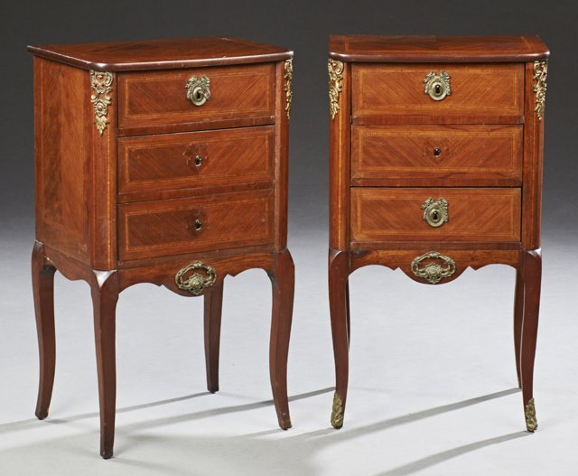 Pair of French Parquetry Inlaid Ormolu Mounted Louis XV
