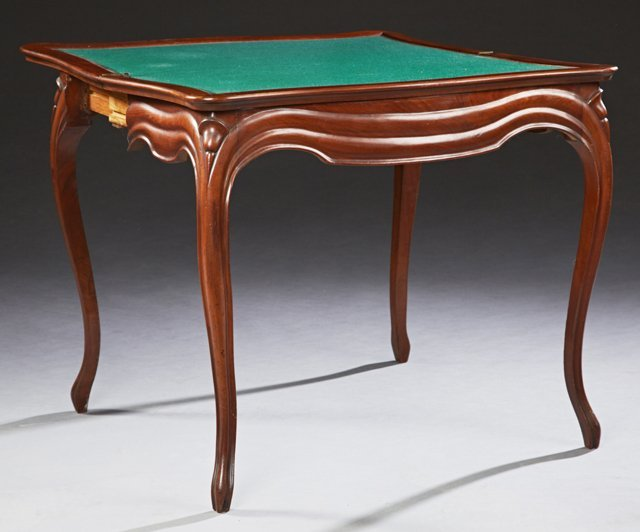 French Louis XV Style Carved Mahogany Games Table, 19th - 2