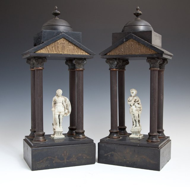 Pair of Black Marble and Patinated Spelter Garnitures,