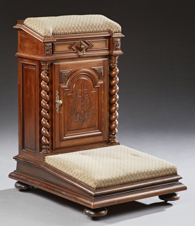 Unusual French Carved Walnut Prie Dieu, late 19th c.,