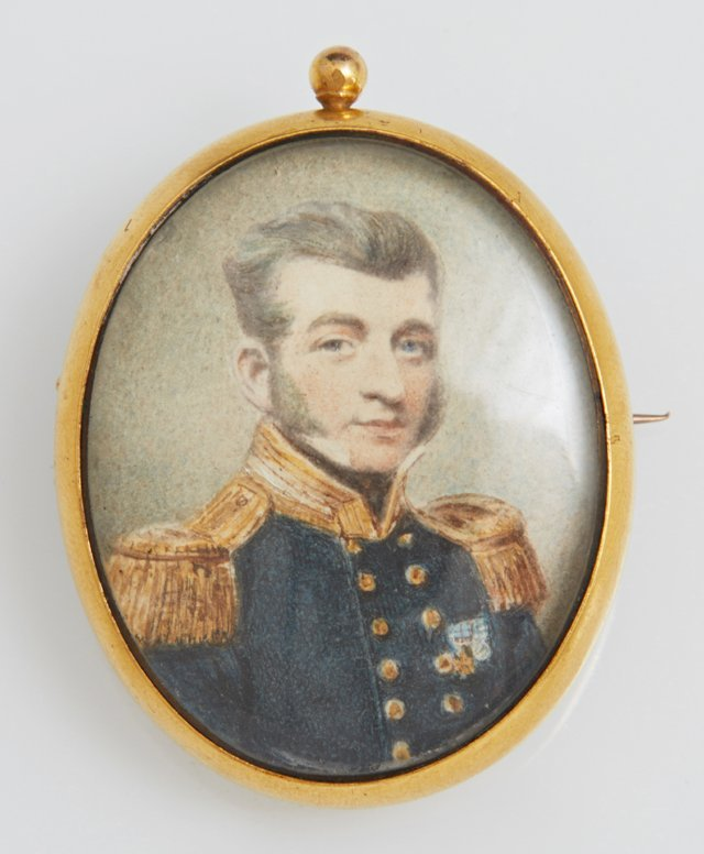 English 15K Yellow Gold Portrait Brooch, 19th c., with