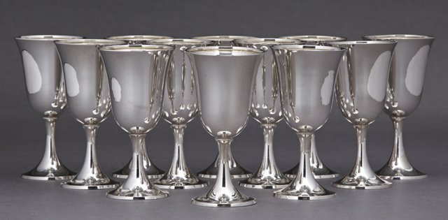 Set of Twelve Sterling Goblets, early 20th c., by