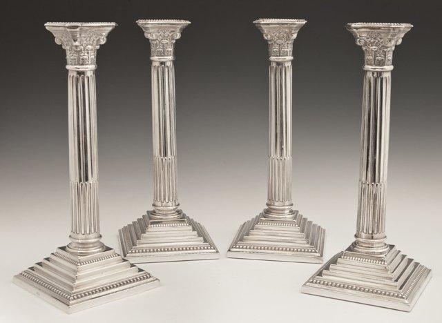 Set of Four English Silverplated Corinthian Column