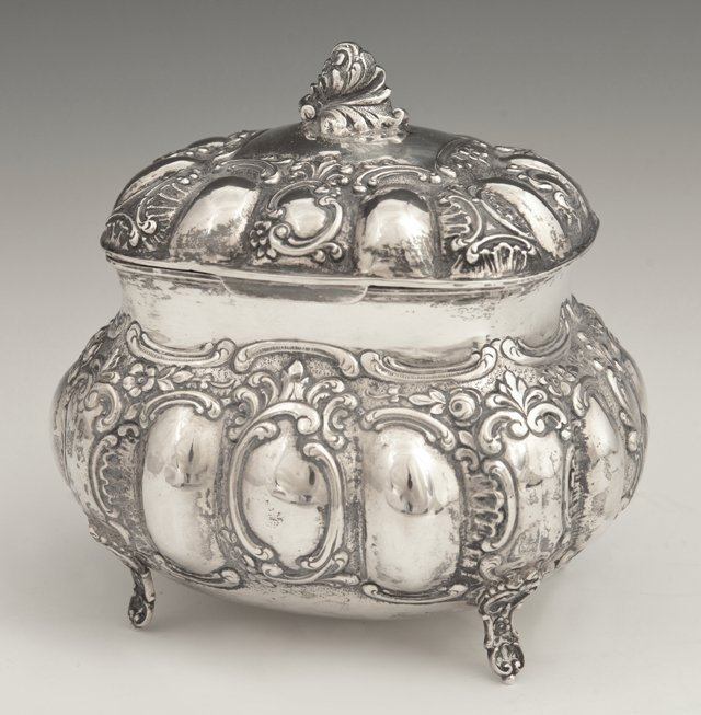 Continental .800 Silver Tea Caddy, 19th c., with
